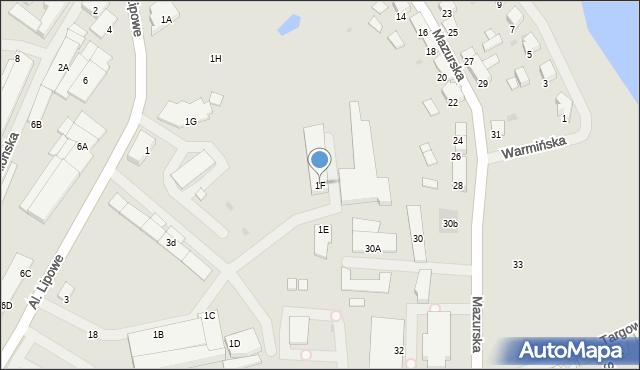 Olecko, Aleje Lipowe, 1F, mapa Olecko