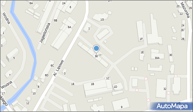Olecko, Aleje Lipowe, 3d, mapa Olecko