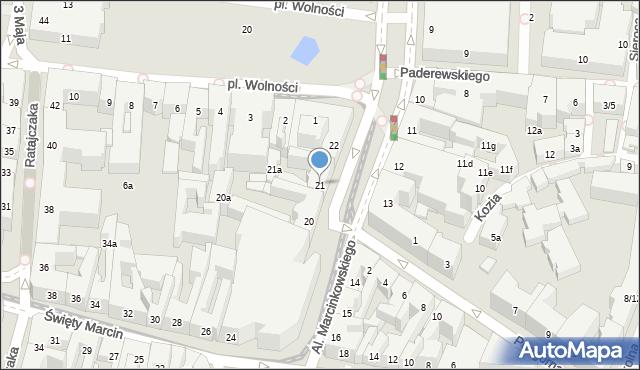 Poznań, Aleje Marcinkowskiego Karola, 21, mapa Poznania
