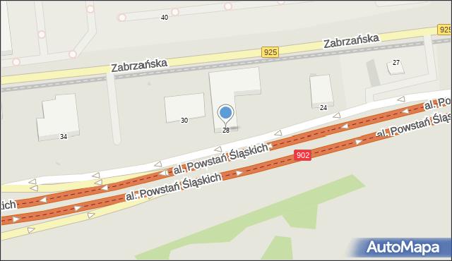 Ruda Śląska, Aleja Powstań Śląskich, 28, mapa Rudy Śląskiej