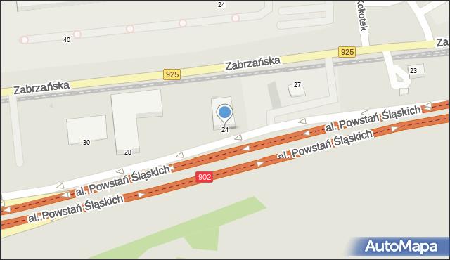 Ruda Śląska, Aleja Powstań Śląskich, 24, mapa Rudy Śląskiej