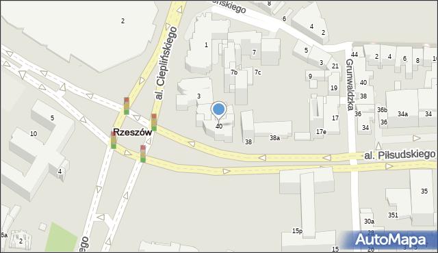 Rzeszów, Aleja Piłsudskiego Józefa, marsz., 40, mapa Rzeszów