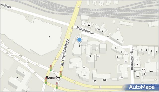 Rzeszów, Aleja Cieplińskiego Łukasza, 1, mapa Rzeszów