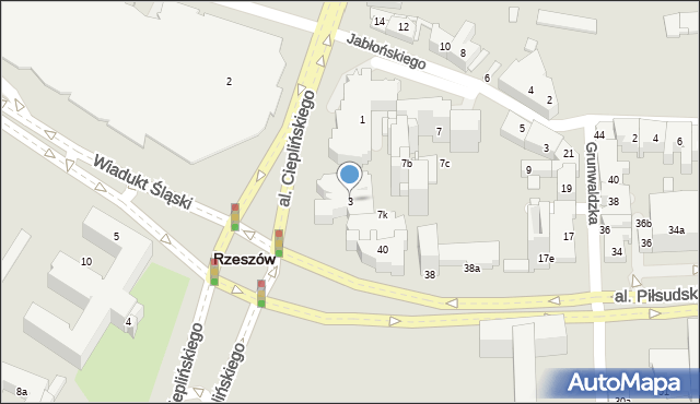 Rzeszów, Aleja Cieplińskiego Łukasza, 3, mapa Rzeszów