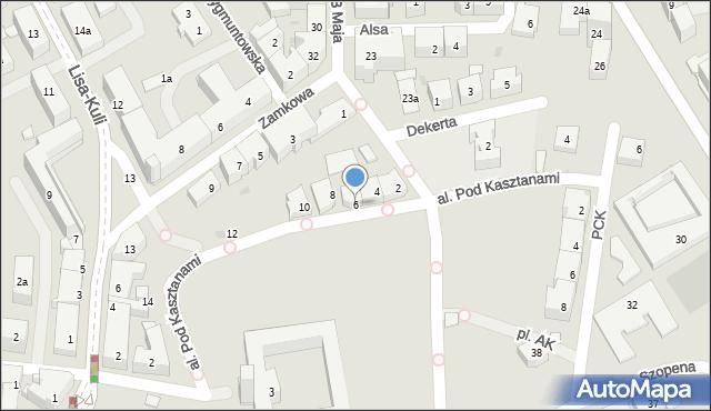 Rzeszów, Aleja Pod Kasztanami, 6, mapa Rzeszów