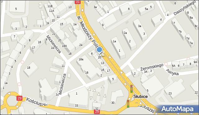 Słubice, Aleja Młodzieży Polskiej, 10, mapa Słubice