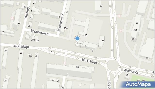 Słupsk, Aleja 3 Maja, 11, mapa Słupska