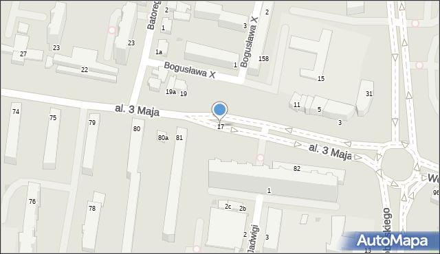 Słupsk, Aleja 3 Maja, 17, mapa Słupska