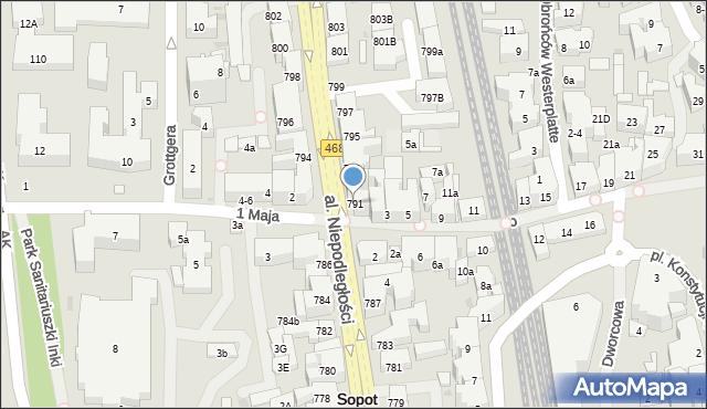 Sopot, Aleja Niepodległości, 791, mapa Sopotu