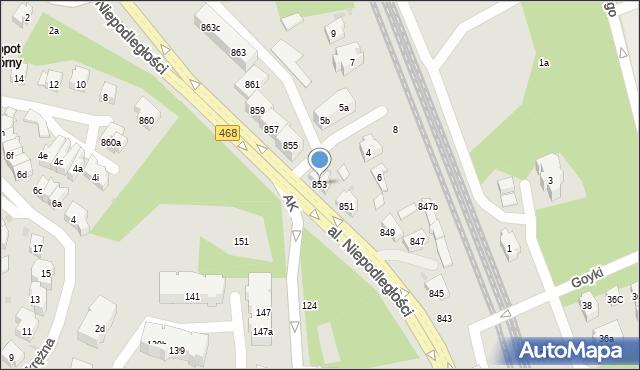 Sopot, Aleja Niepodległości, 853, mapa Sopotu