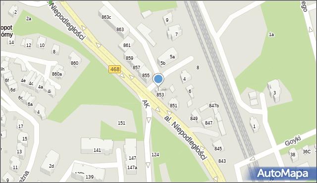 Sopot, Aleja Niepodległości, 853A, mapa Sopotu