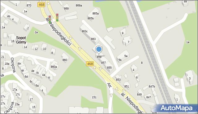 Sopot, Aleja Niepodległości, 859, mapa Sopotu