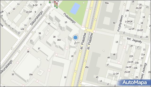 Szczecin, Aleja Piastów, 17, mapa Szczecina