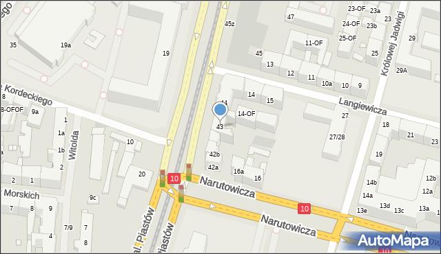 Szczecin, Aleja Piastów, 43, mapa Szczecina