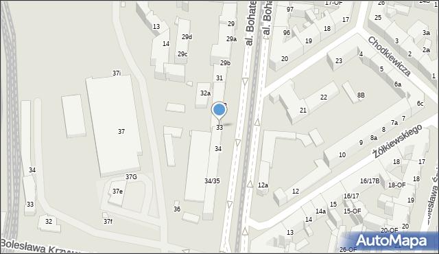 Szczecin, Aleja Bohaterów Warszawy, 33, mapa Szczecina