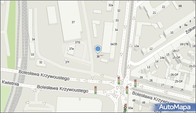 Szczecin, Aleja Bohaterów Warszawy, 36, mapa Szczecina