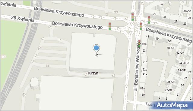 Szczecin, Aleja Bohaterów Warszawy, 40, mapa Szczecina