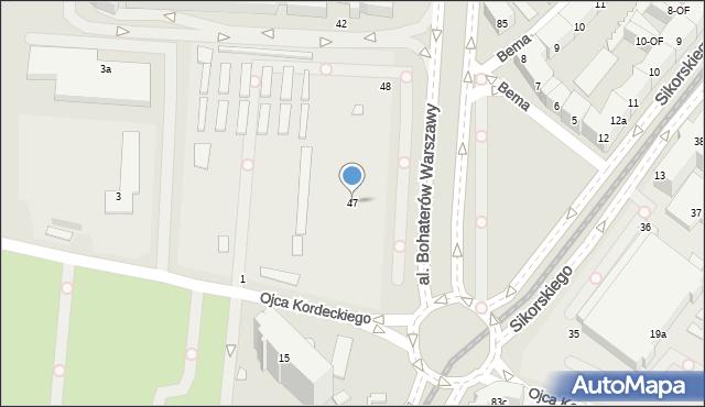 Szczecin, Aleja Bohaterów Warszawy, 47, mapa Szczecina