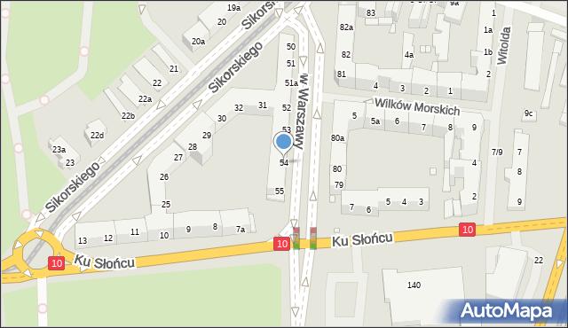 Szczecin, Aleja Bohaterów Warszawy, 54, mapa Szczecina