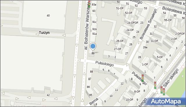 Szczecin, Aleja Bohaterów Warszawy, 89, mapa Szczecina