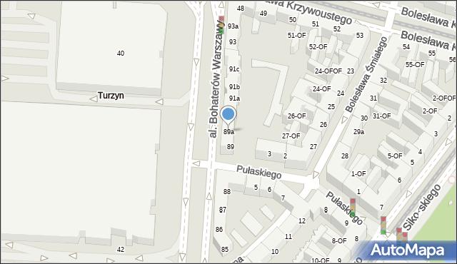 Szczecin, Aleja Bohaterów Warszawy, 89a, mapa Szczecina