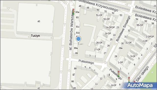 Szczecin, Aleja Bohaterów Warszawy, 90, mapa Szczecina