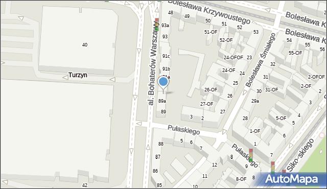 Szczecin, Aleja Bohaterów Warszawy, 91, mapa Szczecina