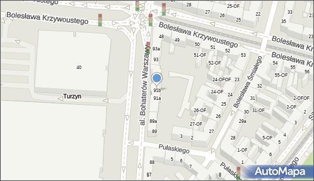 Szczecin, Aleja Bohaterów Warszawy, 91b, mapa Szczecina