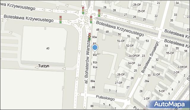 Szczecin, Aleja Bohaterów Warszawy, 91c, mapa Szczecina
