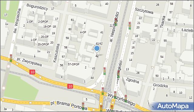 Szczecin, Aleja Niepodległości, 42, mapa Szczecina