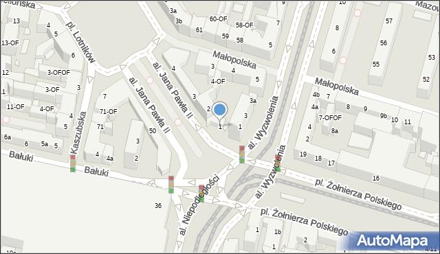 Szczecin, Aleja Papieża Jana Pawła II, 1, mapa Szczecina