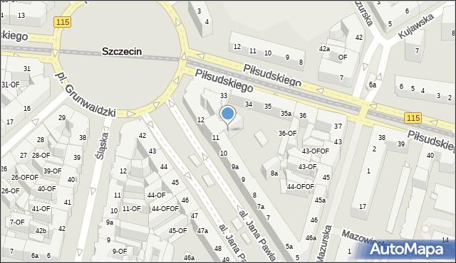 Szczecin, Aleja Papieża Jana Pawła II, 11-OF, mapa Szczecina