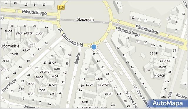 Szczecin, Aleja Papieża Jana Pawła II, 42, mapa Szczecina