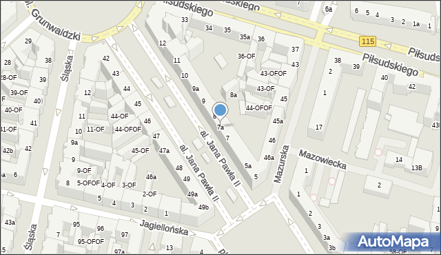 Szczecin, Aleja Papieża Jana Pawła II, 7a, mapa Szczecina