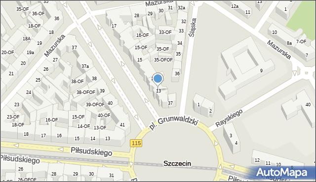 Szczecin, Aleja Papieża Jana Pawła II, 13, mapa Szczecina