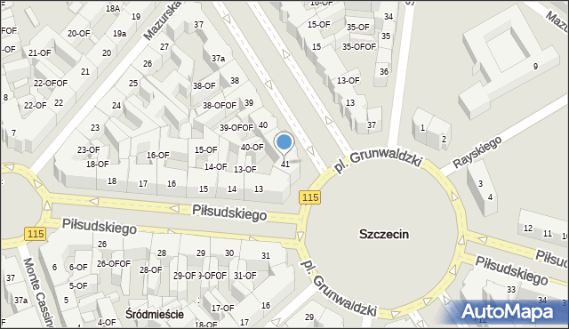 Szczecin, Aleja Papieża Jana Pawła II, 41, mapa Szczecina