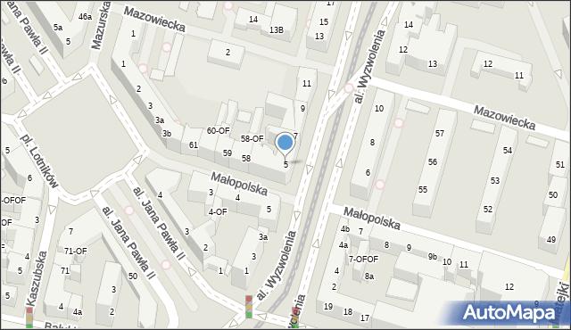 Szczecin, Aleja Wyzwolenia, 5, mapa Szczecina