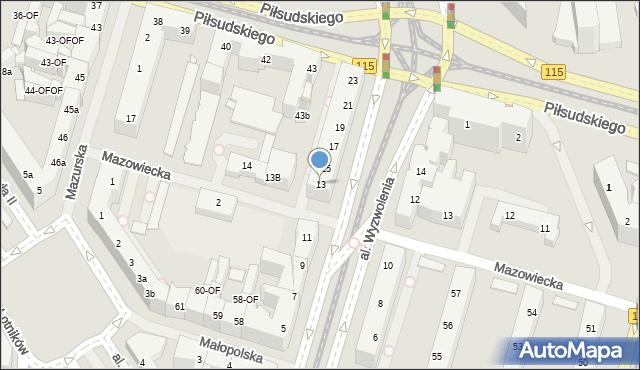 Szczecin, Aleja Wyzwolenia, 13, mapa Szczecina