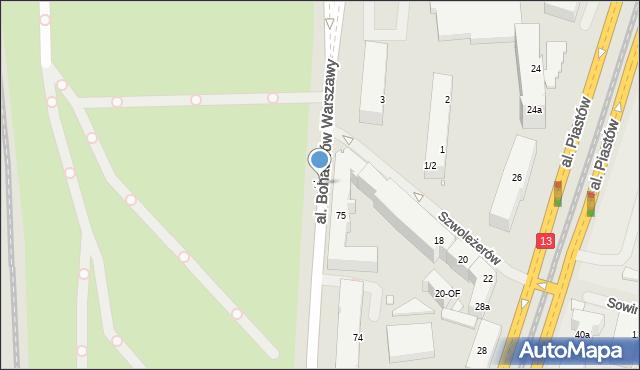 Szczecin, Aleja Bohaterów Warszawy, 75b, mapa Szczecina