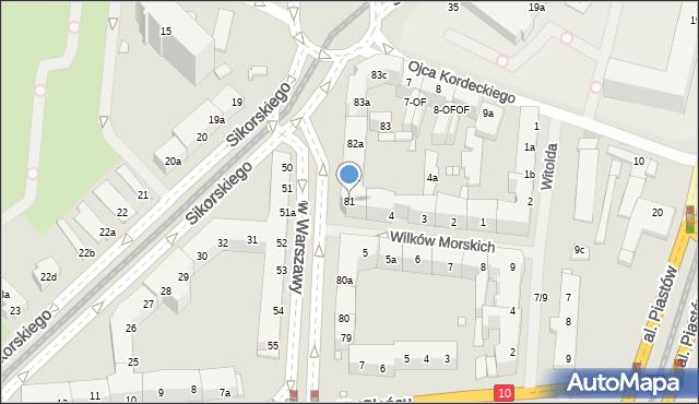 Szczecin, Aleja Bohaterów Warszawy, 81, mapa Szczecina