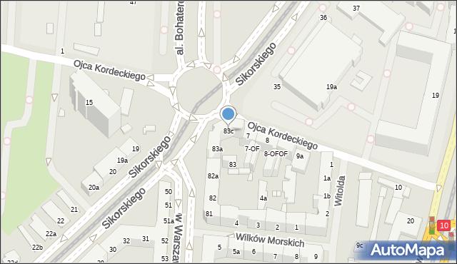 Szczecin, Aleja Bohaterów Warszawy, 83c, mapa Szczecina