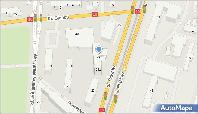 Szczecin, Aleja Piastów, 24, mapa Szczecina