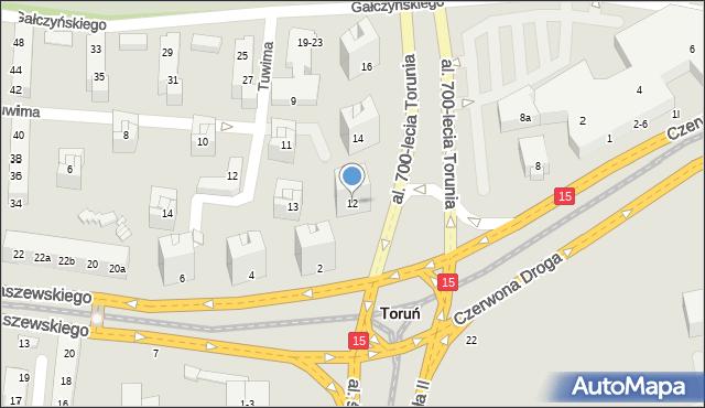 Toruń, Aleja 700-lecia Torunia, 12, mapa Torunia