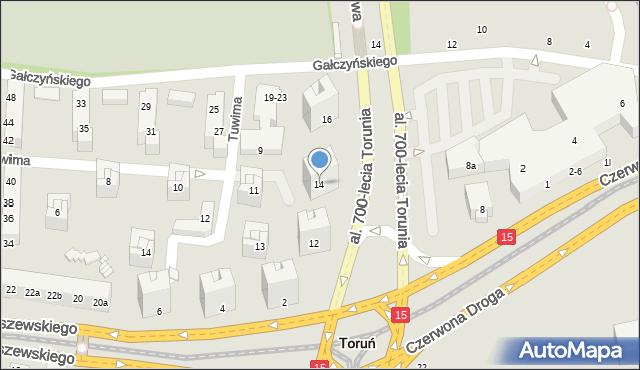 Toruń, Aleja 700-lecia Torunia, 14, mapa Torunia