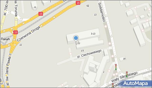 Toruń, Aleja Solidarności, 1, mapa Torunia