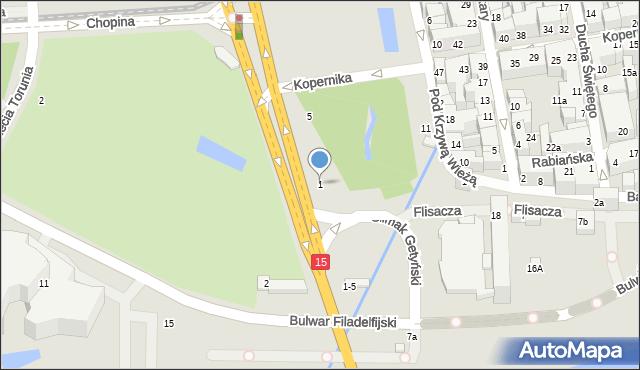 Toruń, Aleja św. Jana Pawła II, 1, mapa Torunia