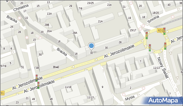 Warszawa, Aleje Jerozolimskie, 32, mapa Warszawy