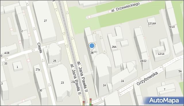 Warszawa, Aleja Jana Pawła II, 26, mapa Warszawy