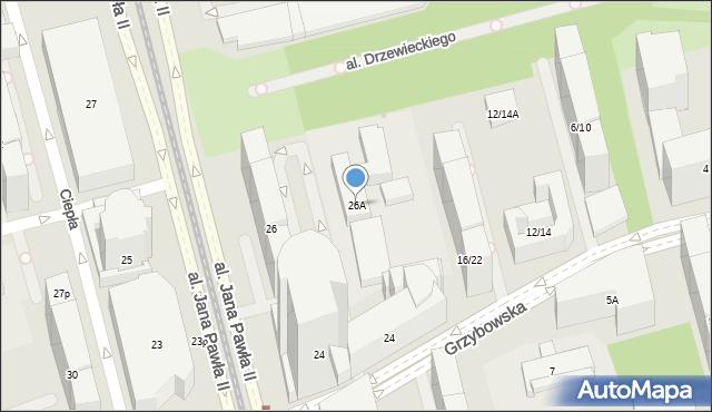 Warszawa, Aleja Jana Pawła II, 26A, mapa Warszawy