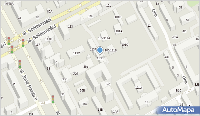 Warszawa, Aleja Solidarności, 113B, mapa Warszawy